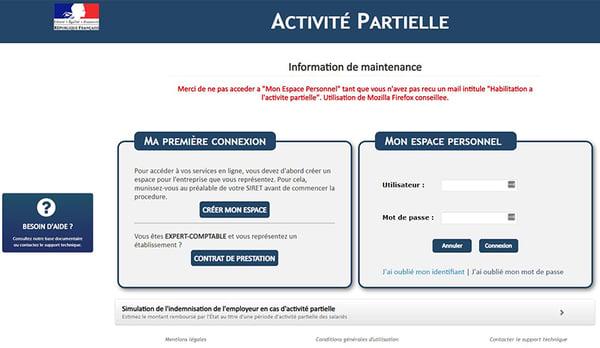Geirec - Depot en ligne des demandes dactivité partielle